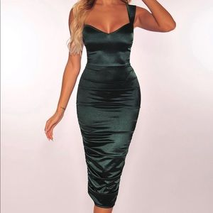 NEW Hunter Green Satin Sweetheart Ruched Dress